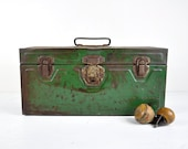Vintage Metal Toolbox, Tool Carrier, Metal Storage Box, Industrial Decor, Industrial Storage