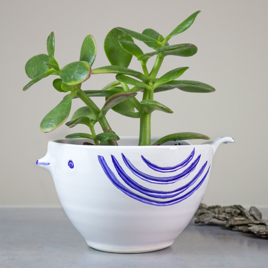 White Bird Ceramic Planter Large Succulent Planter Handmade