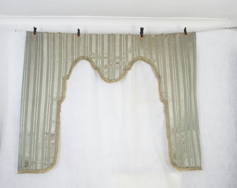 Large antique French silk curtain pelmet, window dressing, lambrequin, blind frame