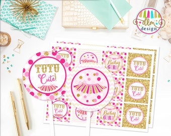 Tutu Cute Party Circles, Cupcake Toppers, Cupcake Wrappers, Printable DIY Files, Baby Shower, Baby Girl, Pink and Gold