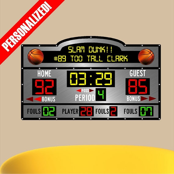scoreboard basketball score wall custom board sports personalized decal sticker birthday etsy removable create sold