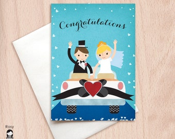 Congratulations - Bride and Groom - Just Married Car - Wedding Congratulations Greeting Card