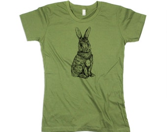 Women Rabbit Shirt - Womens Green Tshirt - Olive - Army - Rabbit TShirt- Eco Friendly Organic Cotton - Small, Medium, Large, XL, 2x, 3xl