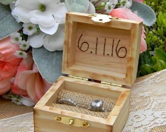 Rustic Ring Bearer Box Personalized Wood Heart Rustic Wood Ring Bearer Box Extra Small Ring Box Pocket Size Wedding Keepsake Ring Bearer Box
