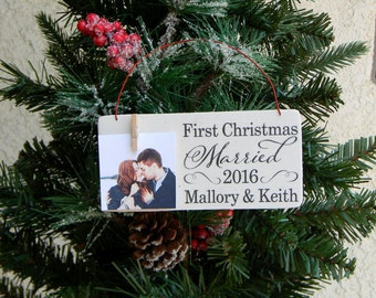 First Christmas Married First Christmas Engaged Rustic Christmas Ornament Newlywed Christmas Ornament Engagement Ornament Picture Ornament