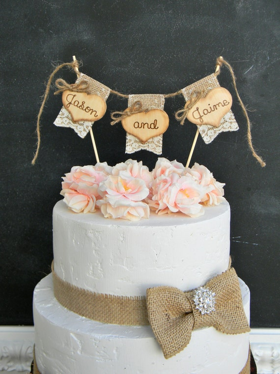 wedding cake topper name and date names personalized wedding cake topper burlap amp lace bunting 26363