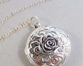 Victorian Rose,Rose Locket,Rose Necklace,rosesSTerling silver Rose,Sterling silver rose locket,silver rose,Sterling Silver,valleygirldesigns