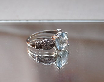 Aquamarine Ring in White Gold Size 8