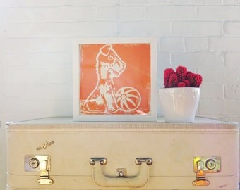 Orange Dog print 9 Inch signed paper Silk Screened Art Print on white Paper