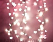 Pink Hearts, Girl Nursery Decor, Fairy Lights, Modern, Pastel Wall Art, White, Pink, Hearts
