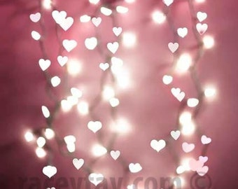 Photograph of Pink Valentine Hearts, Girl Nursery Decor, Fairy Lights, Modern, Pastel Wall Art, White, Pink, Valentine Decor