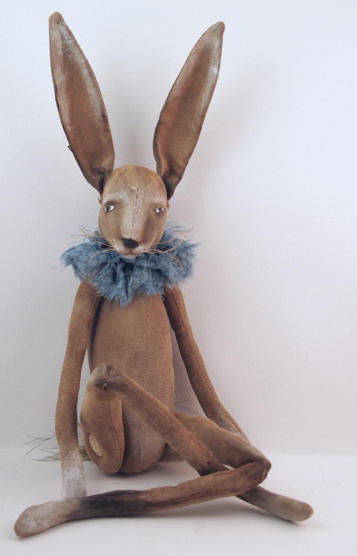 Folk Art Rabbit Doll Painted Cloth Soft Sculpted Hand