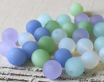 8mm Round Sea Glass Beads - Jewelry Making Supply - Opaque Seaglass Bead Assortment - 5 Strands - One Of Each Color