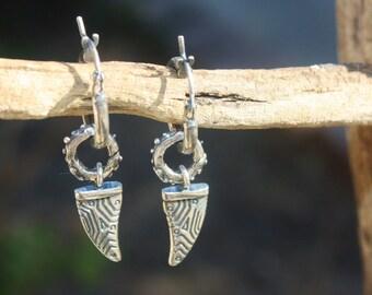 Handmade Tribal Dangle Drop Hoop Earrings, Handcrafted Artisan Sterling Silver Earrings