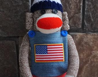 American Flag 4th of July USA Patriotic Rockford Red Heel Sock Monkey