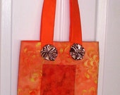 Unique Tote Bag, Book Bag, Orange Fabric Lunch Bag, Small Shopping Bag, Shoe Bag, Gift under 10 Dollars, Gift for Friend, Mom, Co-Worker