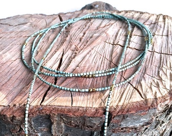 Long Triple Strand Lariat Turquoise Necklace with Gemstone Tassels