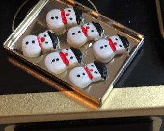 Miniature Snowman Cookies on Tray, Dollhouse 1:12 Scale Miniature, Dollhouse Accessory, Miniature Food