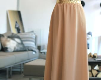Floor length gold sequin strapless gown /  Champagne dress / Sweetheart neck bridesmaid dress