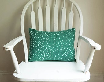 """Green Snow Dots Christmas Holiday Decor Pillow Cover 12"""" x 16"""" Lumbar Cotton Canvas Washable Winter Decorative Made in Nashville Tennessee"""
