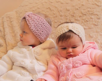 Hand Crocheted Baby or Toddler Headband Ear Warmer Vintage Inspired
