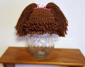 Ready to Ship, Crochet Newborn Baby Girl Cabbage Patch Kid Hat, Photo Prop, Shower Gift, Brunette, Brown Beanie, Pig-tail cap,