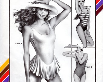 1980s One Piece Bathing Suit - Vintage Pattern Stretch & Sew 1364 - Bust 30 to 46 UNCUT FF Maillot with Skirt