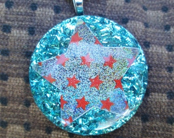 Holographic Silver Star Turquoise Tinsel Glitter Resin Pendant, 4th of July American Pride Resin Pendant, USA Red White & Blue Star Necklace