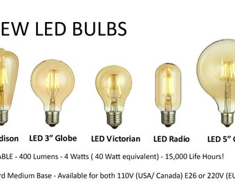 NEW LED BULBS Edison Style! Dimmable Industrial Filament Style Edison Globe, Radio, Squirrel Cage