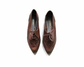 Vintage Leather Oxfords 7 / Brown Leather Oxfords / Lace Up Brogues