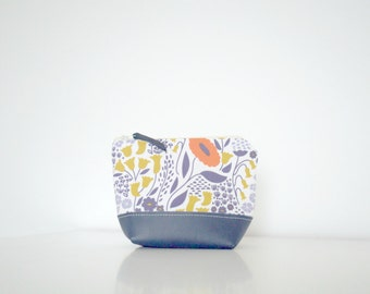 Zipper Pouch - Flowers in Navy, Mustard and Orange + Upcycled Leather