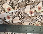 Pale Pink Floral Print Silk Rayon Fabric Yardage Destash