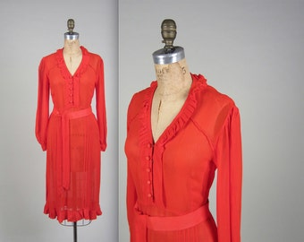 1930s sheer silk chiffon dress • vintage 30s dress • red day dress