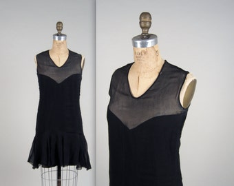 1920s illusion flapper dress • vintage 20s dress • black cocktail dress