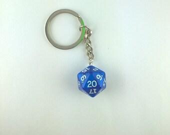 Blue Pearl D20 Dice Keychain, Geek Keychain, Nerd Keychain, Gamer Keychain, Table Top Dungeons and Dragons Keychain
