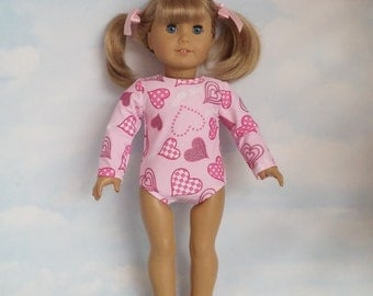 18 inch doll clothes - #102 Pink Heart Gymnastic Leotard - FREE SHIPPING