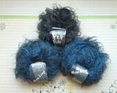 yarn lot destash, novelty eyelash yarn, black Lana Grossa Pep Pelo, blue Lana Grossa Micro Lungo, 3 skeins
