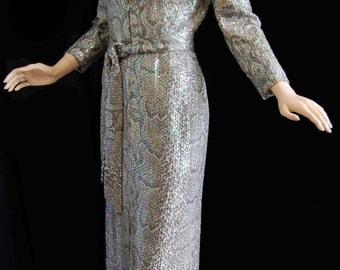 Vintage 70s Snakeskin Print Dress with Iridescent Sequin Overlay Long Zipper Front