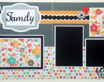Premade scrapbook layout page - Family scrapbook page - Scrapbook page family - 12x12 Scrapbook layout - 12x12 Scrapbooking page