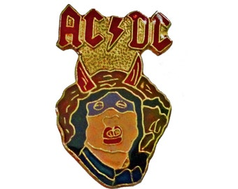 AC/DC Highway To Hell vintage enamel pin button pinback heavy metal