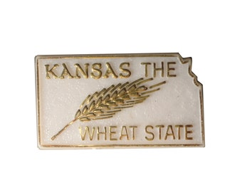 vintage KANSAS The Wheat STATE plastic lapel pin KS