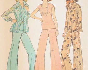 70s Vintage Simplicity Pattern 6668 Shirt-jacket Top Wide Leg Pants 14.5 16.5 Uncut Free US Shipping