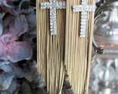 crosses and fringe - vintage assemblage earrings rhinestones tassel chain long statement jewelry trend gold toned by the french circus