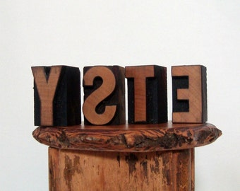 ETSY Letterpress Wood Type E T S Y Letters Print Blocks Vintage