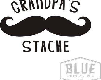 Grandpa's Stache Vinyl Decals - Grandpa's Stache Mustache Vinyl Decal for Canister - Canister Vinyl Decals - Kitchen Decals