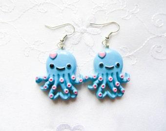 Kawaii Octopus Earrings, Kawaii Earrings, Lolita Earrings, Cute Earrings, Octopus, Cute Octopus, Pink and Blue