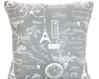 Gray White Paris Pillow Covers, Decorative Pillow, Cushion Covers, Grey White French Paris Pillow Couch Bed Sofa Pillows Various Sizes