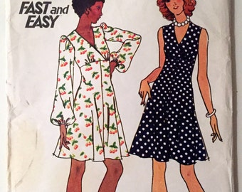 Vintage Butterick 3636 High Waisted Dress Flared Skirt Size 16 38 Bust