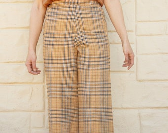 Vintage 60s-70s Pendleton Plaid High Waisted Wide Leg Pants /Trousers/ Retro /Mod /Hipster