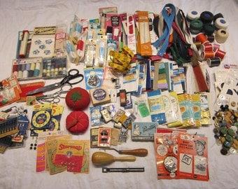 vintage notions lot - destash lot - instant sewing kit